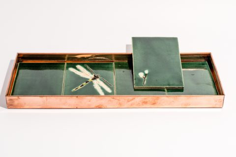 Kobberbakke-15x42x3cm_mørkegrønne kakler