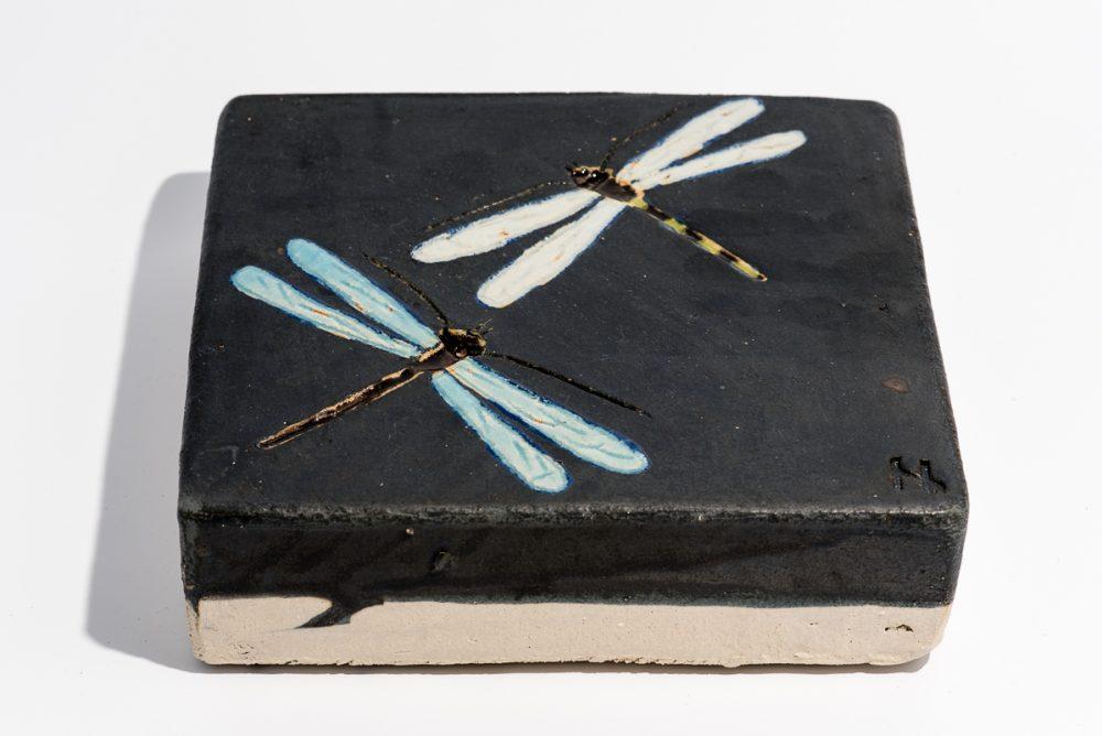 Udsmykningssten_20x20x5cm._Sort med lys blå guldsmede