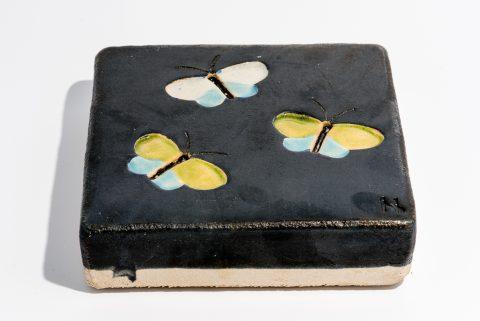 Udsmykningssten_20x20x5cm_sort_sommerfugle_lys blå og limefarvede