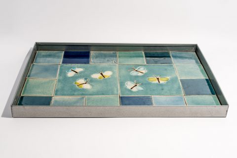 Vandspejl zink 40x60x3cm med to motivkakler sommerfugle